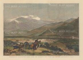 """Graphic Magazine: Kabul. 1878. A hand coloured original antique wood engraving. 12"""" x 9"""". [AFGp92]"""