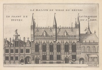 "de la Feuille: Town Hall, Bruges. c1720. An original antique copper engraving. 8"" x 6"". [BELp260]"