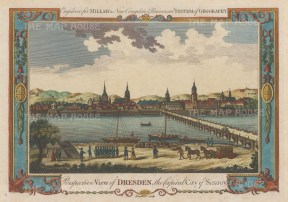 "Millar: Dresden. c1770. A hand coloured original antique copper engraving. 12"" x 9"". [GERp1193]"