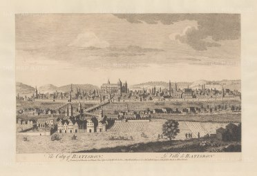 "Sayer: Regensburg. 1774. An original antique copper engraving. 18"" x 12"". [GERp1245]"