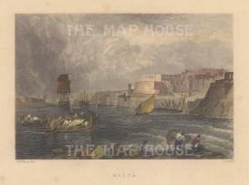 """Finden: Valetta, Malta. c1850. A hand coloured original steel engraving. 6"""" x 5"""". [MEDp301]"""