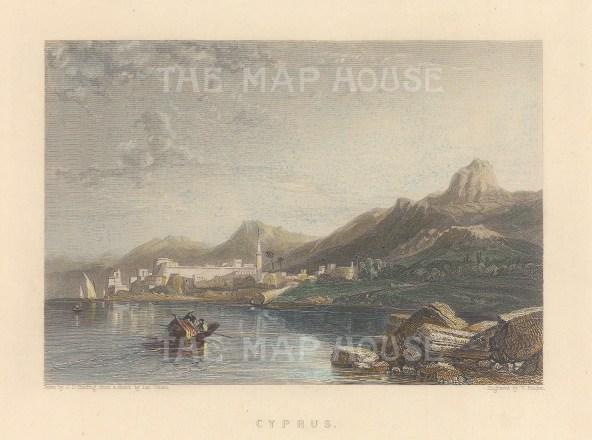 "Finden: Cyprus. c1840. A hand coloured original antique steel engraving. 6"" x 5"". [MEDp325]"