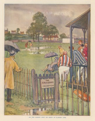 "Punch: Arcadians Cricket Club. 1928. An original vintage chromolithograph. 7"" x 10"". [SPORTSp3618]"