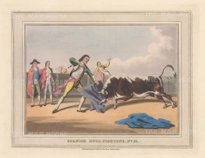 "Orme: Bull Fighting. 1813. An original colour antique aquatint. 9"" x 7"". [SPp1099]"