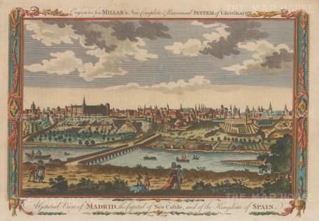 "Millar: Madrid, Spain. 1770. A hand coloured original antique copper engraving. 11"" x 8"". [SPp984]"