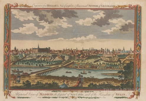 "Millar: Madrid. 1770. A hand coloured original antique copper engraving. 11"" x 8"". [SPp984]"