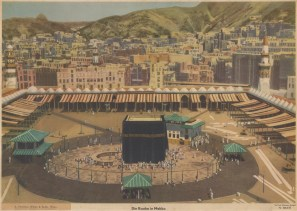 Mecca: Panoramic bird's eye view over the Kaaba towards the relatively undeveloped surrounding hills.
