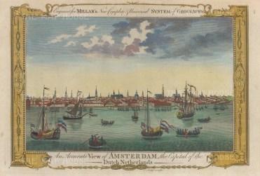 "Millar: Amsterdam, Netherlands. 1782. A hand coloured original antique copper engraving. 12"" x 8"". [NETHp196]"