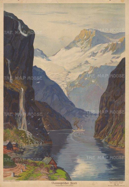 View of the inlet with the falls of The Three Sisters on the left and The Suitor on the right. After Bruno Bielefeld.