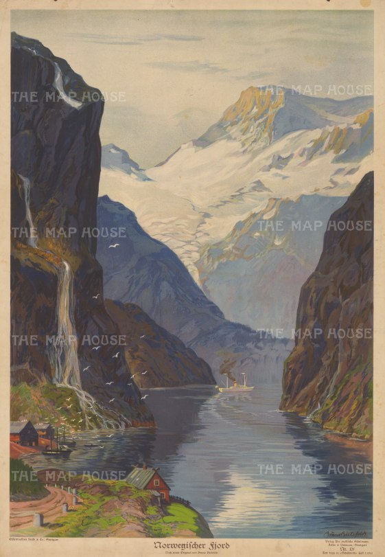 Geiranger Fjord: View of the inlet with the falls of The Three Sisters on the left and The Suitor on the right. After Bruno Bielefeld.