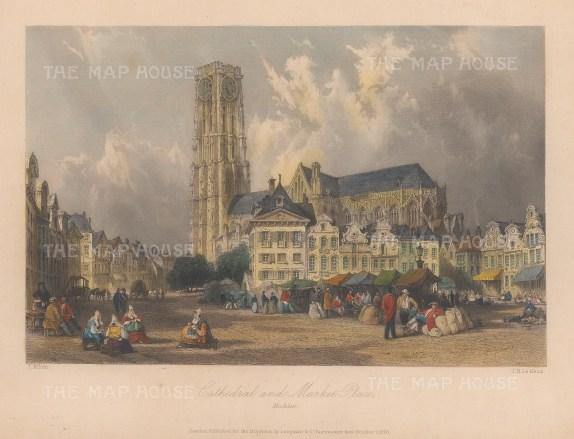 "Allom: Mechlin, Belgium. 1840. A hand coloured original antique steel engraving. 7"" x 4"". [BELp274]"