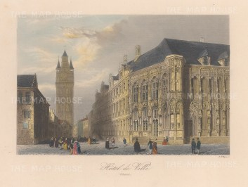 "Allom: Town Hall, Ghent. 1840. A hand coloured original antique steel engraving. 7"" x 4"". [BELp275]"