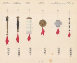 Chinese Pictorial Signs: Decorative signs for Cash and Pawn Exchanges, Candles, Sesame Oil, Wine and Pewter, highlighted with Gold. Slight foxing. Framed.