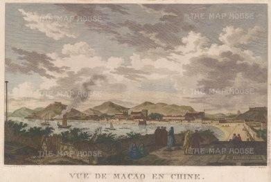 "de la Perouse: Macao. 1797. A hand coloured original antique copper engraving. 11"" x 17"". [CHNp626]"