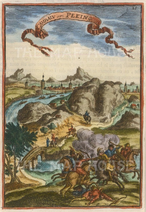"Mallet: Beijing (Peking). 1683. A hand coloured original antique copper engraving. 4"" x 6"". [CHNp997]"