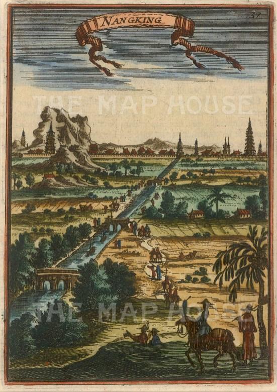 "Mallet: Nanjing. 1683. A hand coloured original antique copper engraving. 4"" x 6"". [CHNp998]"