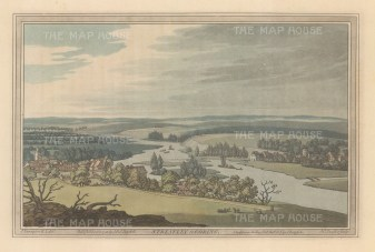 Streatley and Goring on Thames: View of the towns either side of the Thames. After John Farington.