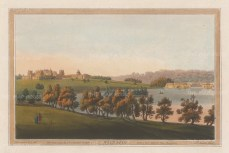 Blenheim Palace, Oxfordshire: Panorama from over the River Glynne. After Joseph Farington.