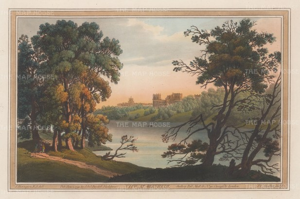 Blenheim, Oxfordshire: View of the palace from the bank of the Thames. AfterJoseph Farington.