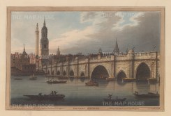 London Bridge from the bank of the Thames. Until 1750 it was the only bridge spanning the river. After Joseph Farington.