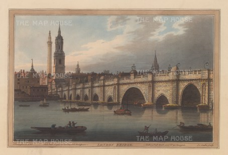 London Bridge: View from the bank of the Thames. Until 1750 it was the only bridge spanning the river. After Joseph Farington.