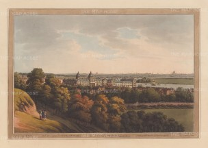 Greenwich: View from the Royal Hospital for Seaman, completed in 1751, towards the Thames with St Paul's in the distance. After Joseph Farington.