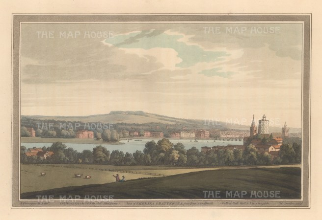 View of Chelsea and part of Battersea from East Wandsworth. After Joseph Farington.