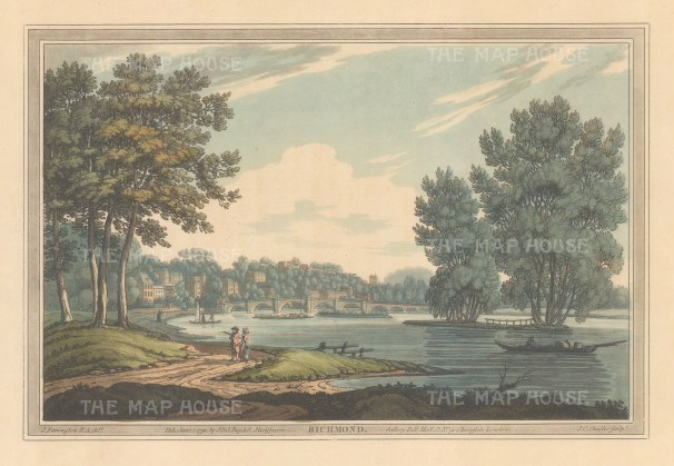 Richmond: View on the Thames of the town and bridge, After Joesph Farington.