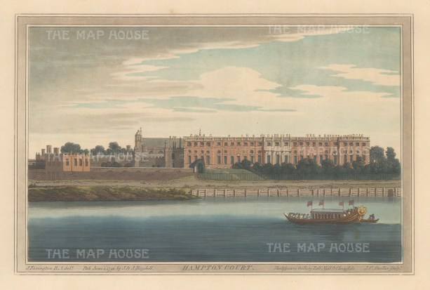 Hampton Court: Panoramic view from the Thames. After Joseph Farington.
