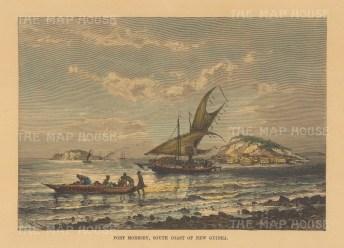 "Reclus: Port Moresby, New Guinea. 1894. A hand coloured original antique wood engraving. 8"" x 6"". [PLYp257]"