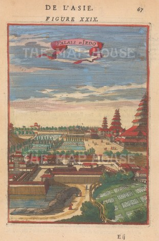 Tokyo (Jedo): View of the Royal Palace and its gardens.