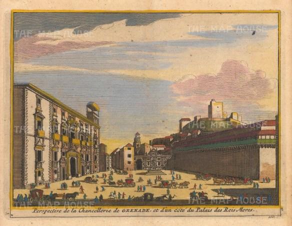 "Van der Aa: Alhambra, Granada. 1727. A hand coloured original antique copper engraving. 5"" x 4"". [SPp1091]"