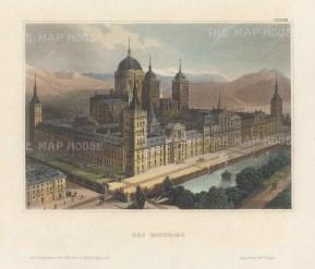 "Meyer: El Escorial, San Lorenzo. 1839. A hand coloured original antique steel engraving. 6"" x 4"". [SPp1096]"