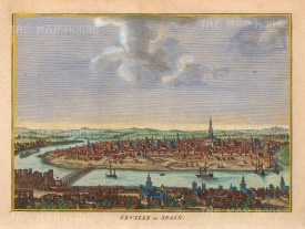 "Hogg: Seville. 1793. A hand coloured original antique copper engraving. 10"" x 6"". [SPp1098]"