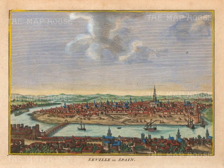 "Hogg: Seville, Spain. 1793. A hand coloured original antique copper engraving. 10"" x 6"". [SPp1098]"