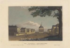 "Meyer: Charlottsville, Virginia. 1837. A hand coloured original antique steel engraving. 6"" x 4"". [USAp4940]"