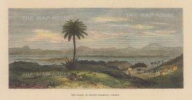 """Illustrated London News: Troodos Mountain Range, Cyprus. 1878. A hand coloured original antique wood engraving. 8"""" x 4"""". [MEDp327]"""