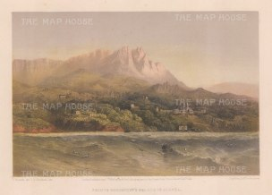 Alupka: View of the Vorontsov Palace with Mount St Peter (Aii-Petri) in the distance.