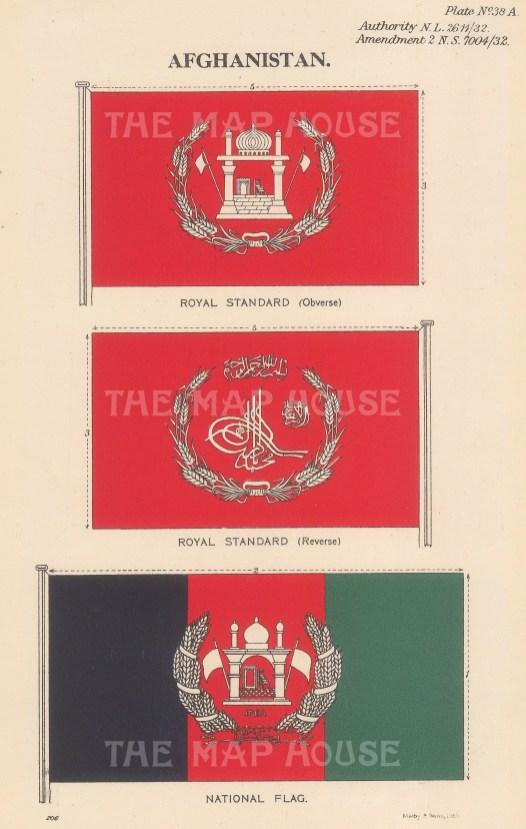 "Malby & Sons: Royal Standard and National Flag. c1930. An original vintage chromolithograph. 6"" x 9"". [AFGp154]"