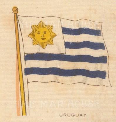 "Cigarette Cards: Uruguay. c1910. Original printed colour on silk. 2"" x 3"". [ARMp124]"