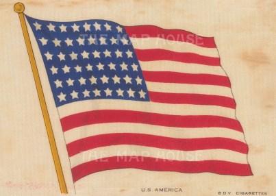 "BDV Cigarettes: USA. c1910. Original printed colour on silk. 6"" x 4"". [ARMp151]"