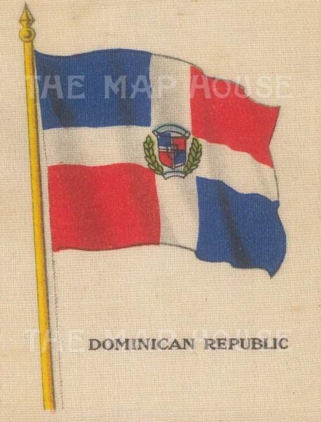 "Cigarette Cards: Dominican Republic. c1910. Original printed colour on silk. 2"" x 3"". [ARMp31]"