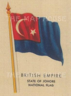 "Kensitas Cigarettes: Malaysia, Johore State flag. c1912. Original printed colour on silk. 2"" x 3"". [ARMp76]"