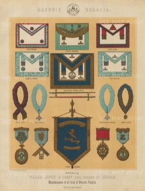 "Jones & Co: Masonic Regalia. c1886. An original antique chromolithograph. 13"" x 18"". [ARMp78]"