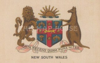 "Cigarette Cards: Australia, New South Wales arms. c1915. Original printed colour on silk. 3"" x 2"". [ARMp84]"