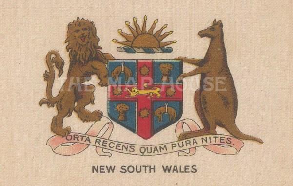 "Cigarette Cards: Australia, New South Wales arms. c1915. Original printed colour on silk. 3"" x 2"". [ARMp84]"