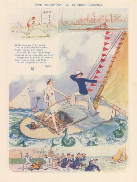 """Punch: Love Triumphant - Cowes. 1929. An original vintage chromolithograph. 7"""" x 9"""". [DECp21845]"""