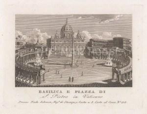 "Piale: St Peter's Basilica, Rome. 1839. An original antique etching. 5"" x 4"". [ITp2268]"
