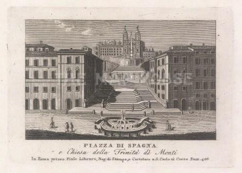 """Piale: Piazza di Spagna, Rome. 1839. An original antique etching. 5"""" x 4"""". [ITp2272]"""