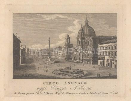 "Piale: Piazza Navona, Rome. 1839. An original antique etching. 5"" x 4"". [ITp2275]"